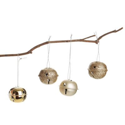 Champagne 4cm Jingle Bell Decorations - Bag of 4