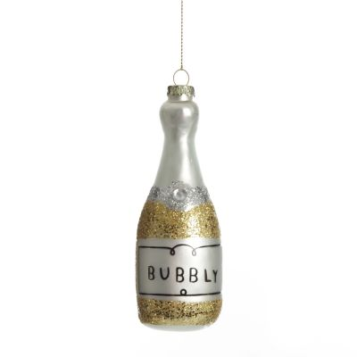 Champagne Bottle Gold Glitter Bubbly Glass Tree Decoration