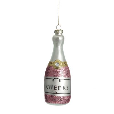 Champagne Bottle Pink Glitter Cheers Glass Tree Decoration