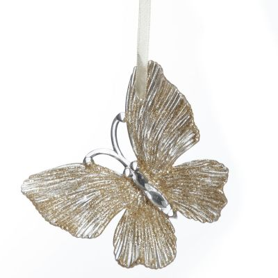 Champagne Glitter Butterfly Tree Decoration