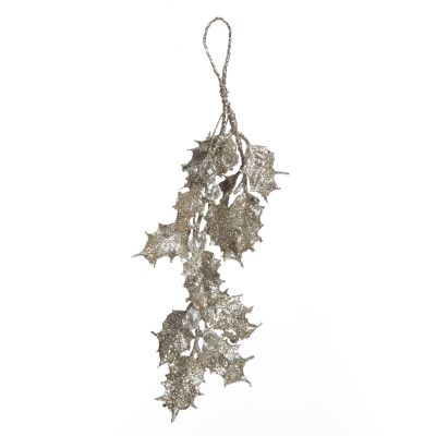 Champagne Glitter Holly Leaf and Crystals Tree Decoration