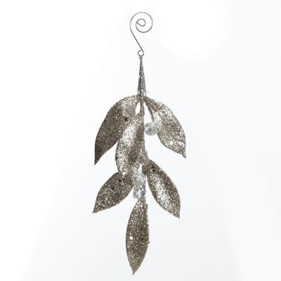 Champagne Glitter Leaf and Crystals Tree Decoration