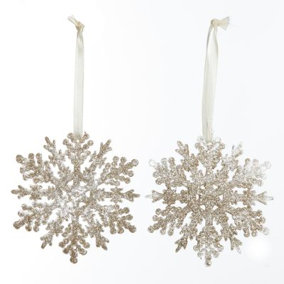 Champagne Glittter Snowflake Tree Decorations - Set of 2