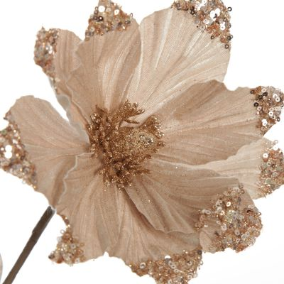 Champagne Magnolia Flower Stem with Glitter Sequin Tips
