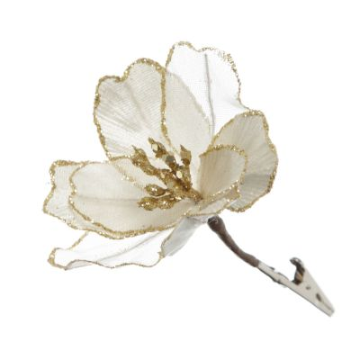 Champagne Magnolia Flower with Gold Glitter Trim