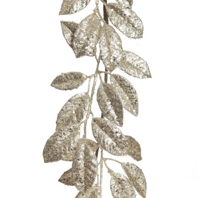 Champagne Sequin Mixed Leaf Christmas Garland