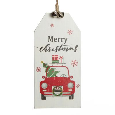 Christmas Car Wooden Gift Tag Tree Decoration