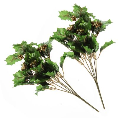 Holly Pick With Gold Berries - Set of 2