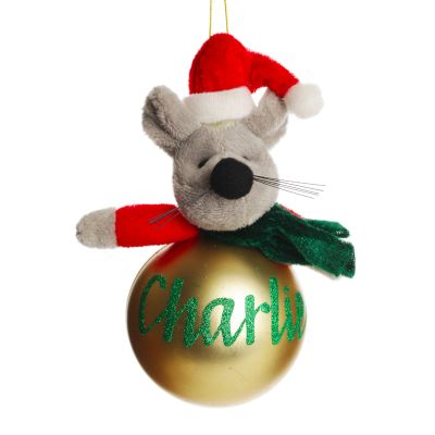 Christmas Character Plush Gold Mouse Bauble