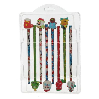 Christmas Pencils with Erasers - Pack of 8