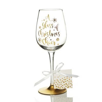 Personalised 'A Glass of Christmas Cheer' Wine Glass
