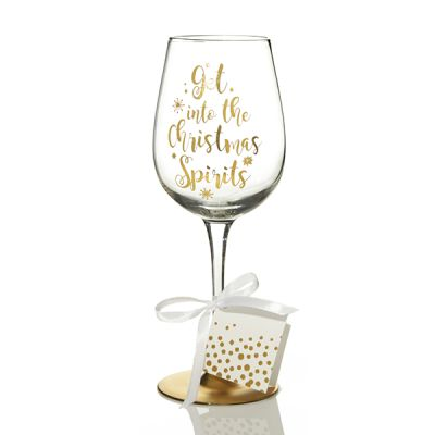 Personalised 'Get into the Christmas Spirits' Wine Glass