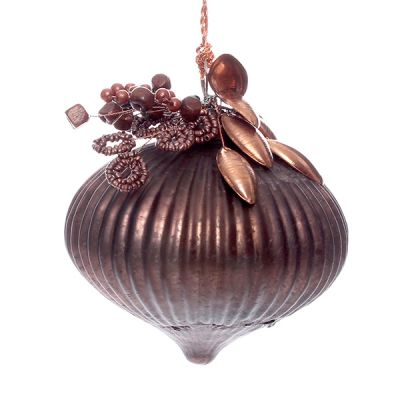 Copper Glass Ribbed Jewel Bauble