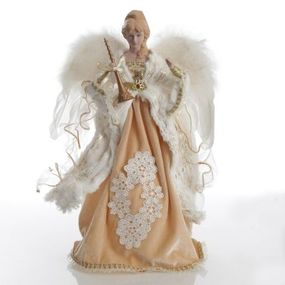 Deluxe Charming Gold and Ivory Lace Angel Tree Topper Ornament