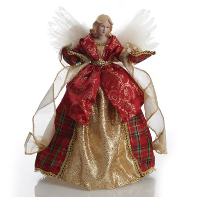Deluxe Red and Gold Angel Tree Topper Ornament