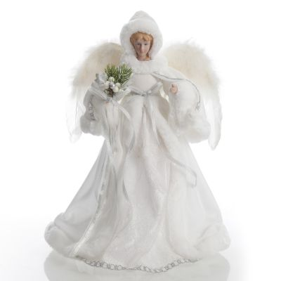 Deluxe White Satin and Fur Angel Tree Topper Ornament