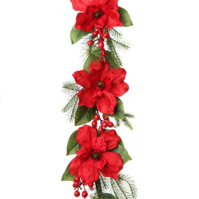 Deluxe Red Magnolia Christmas Garland