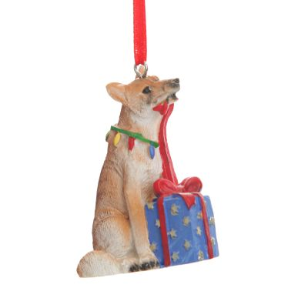 Dingo with Present Australiana Christmas Tree Decoration