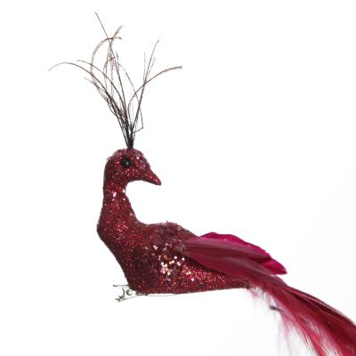 Elegant Red Peacock clip with Glitter