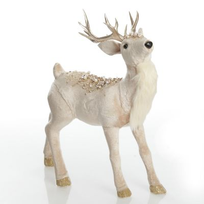 Velvet Pink Deer with Jewels - Standing with Head Back