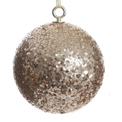 Extra Large Champagne Sequin Christmas Bauble