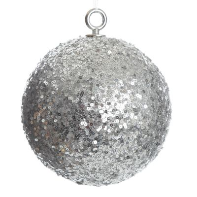 Extra Large Silver Sequin Christmas Bauble