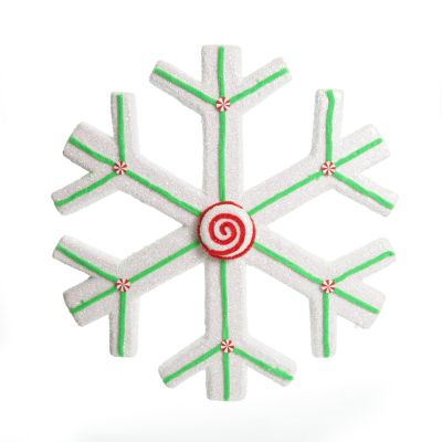 Extra Large White Snowflake with Mint Green Lolly Trim