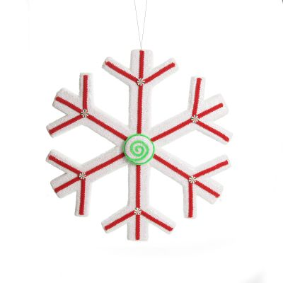 Extra Large White Snowflake with Red Lolly Trim