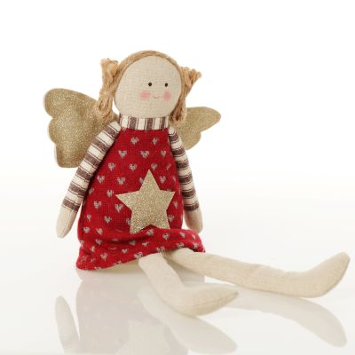 Fabric Sitting Angel with Red Dress sitting