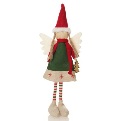 Fabric Standing Angel - Green Dress - Whole product