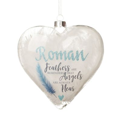 Personalised Feather Glass Heart - Feathers are Reminders - Blue