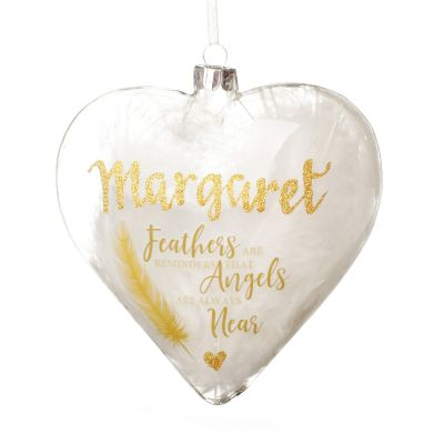 Personalised Feather Glass Heart - Feathers are Reminders - Gold