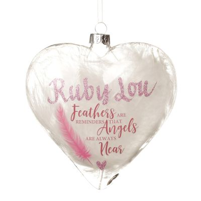 Personalised Feather Glass Heart - Feathers are Reminders - Pink