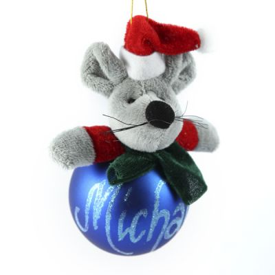 Christmas Character Plush Silver Mouse Bauble