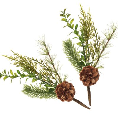 Fir and Pinecone Pick - Set of 2