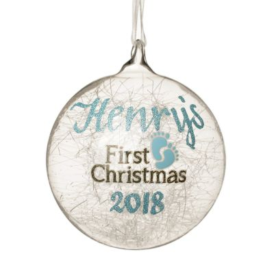 Icicle Glass Personalised Christmas Bauble - Blue First Christmas