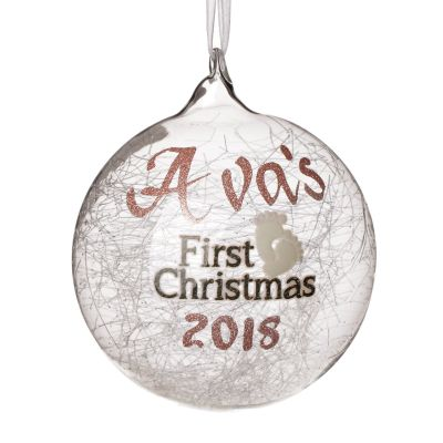 Icicle Glass Personalised Christmas Bauble - First Christmas