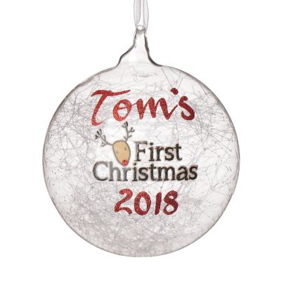 Icicle Glass Personalised Christmas Bauble - First Christmas Reindeer
