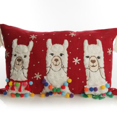 Fluffy Llama Red Christmas Cushion Cover Whole product