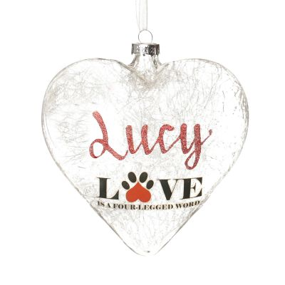 Personalised Dog Glass Heart - Love is a Four Legged Word