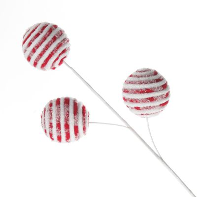 Frosted Candy Cane Ball Pick