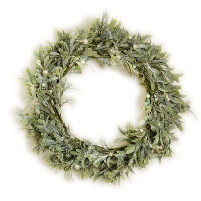 Frosted Green Leaf Christmas Wreath with White Berries