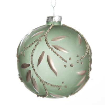 Frosted Sage Bauble with Silver Leaves