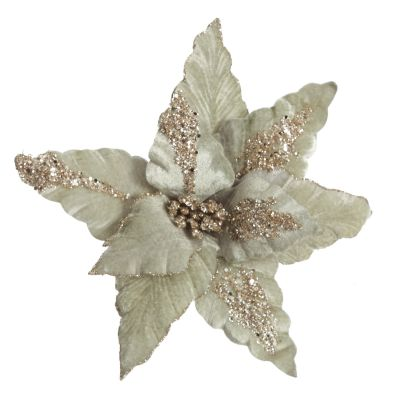 Frosted Sage Green and Sequin Gold Poinsettia Flower Clip