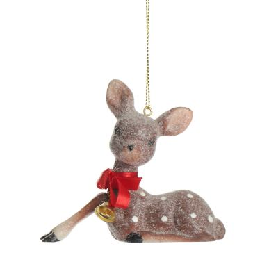 Frosted Sitting Bambi Hanging Tree Decoration Whole Product