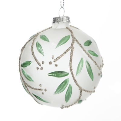 Frosted White Bauble with Green Leaves