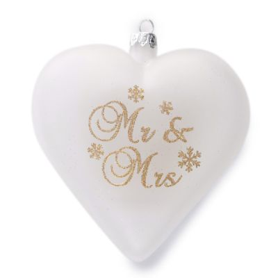 Frosted Heart Ornament - Just Married