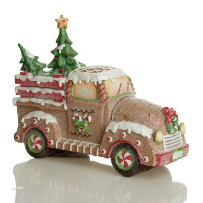 Gingerbread Glitter Truck Christmas Ornament - Whole product