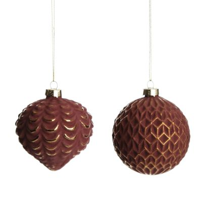 Blush and Antique Gold Glass Bauble and Finial - Set of 2