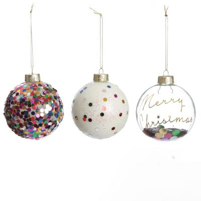 Glass Baubles with Rainbow Confetti Tree Decorations - Set of 3